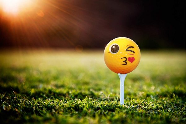 Emoji Kiss Golf Ball