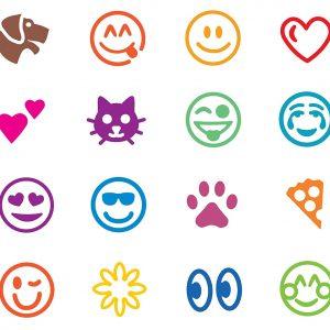 Designs in the Emoji Stamp Marker Set