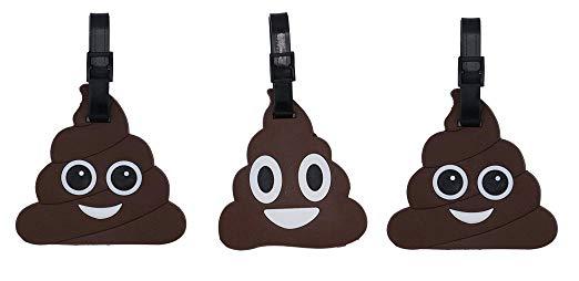 Poop Emoji Luggage Tags 3 Pack