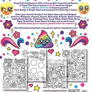 Back of Emoji Coloring Book for Girls