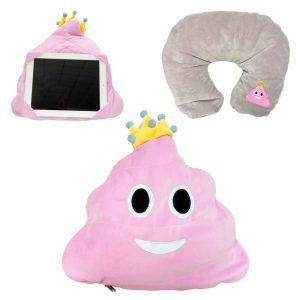 Pink Queen Neck Poop Emoji PIllow