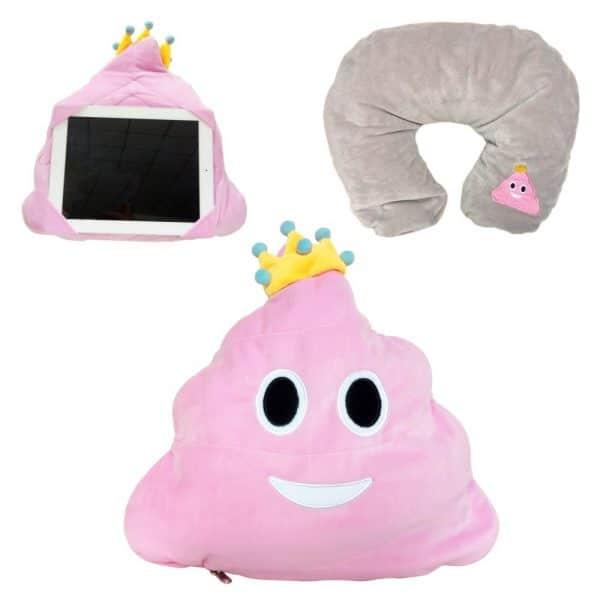 Pink Queen Neck Poop Emoji PIllow