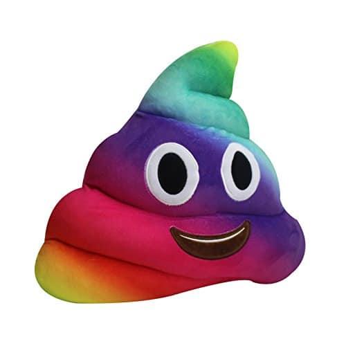 Rainbow Poop Emoji Pillow