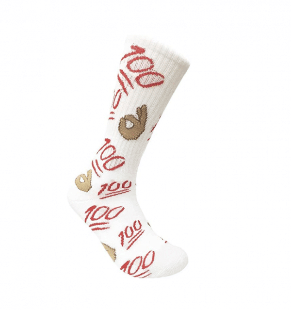 100 Emoji White Crew Socks