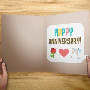 Anniversary Greeting Card Kiss Emoji