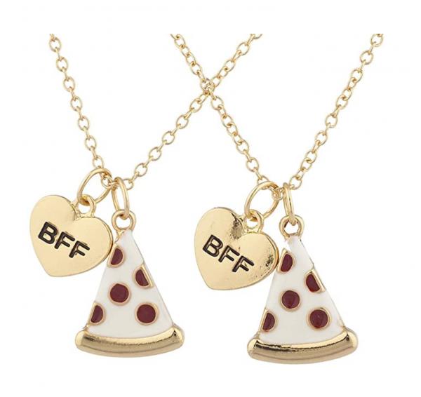 BFF Best Friends Pizza Emoji Necklace