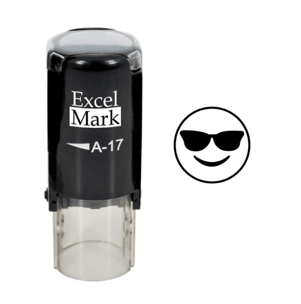 Smiling With Sunglasses Emoji Black Stamp