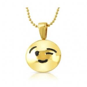 Wink Emoji Gold Necklace Pendant