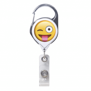 Winking Emoji ID Badge Clip