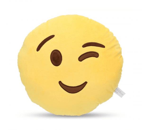 Winking Emoji Plush Pillow