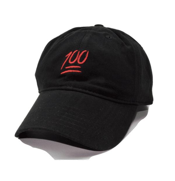 100 Emoji Black Baseball Cap