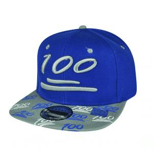 100 Emoji Blue Snapback Cap