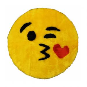 Blowing Kiss Emoji Rug Mat Circular
