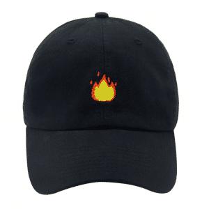 Fire Emoji Black Baseball Cap