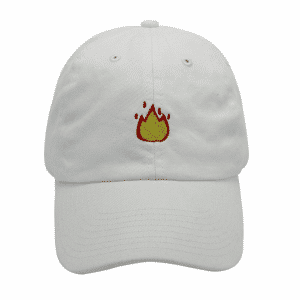Fire Emoji White Baseball Cap