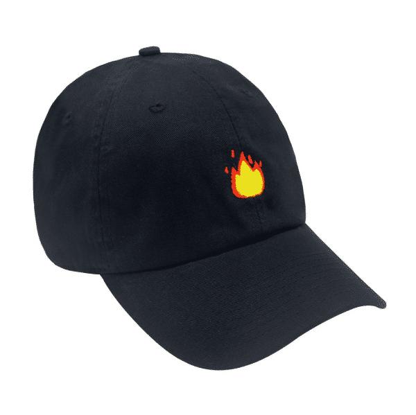 Flame Emoji Black Baseball Cap