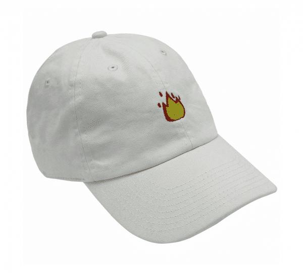 Flame Emoji White Baseball Cap Side