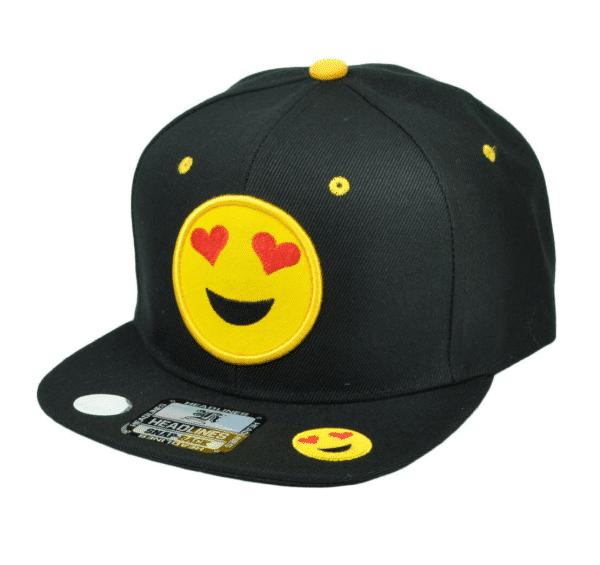 Heart Eyes Black Snapback Cap