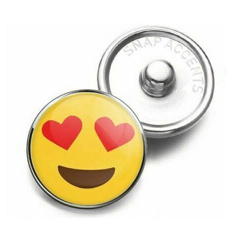 Heart Eyes Emoji Charm Button