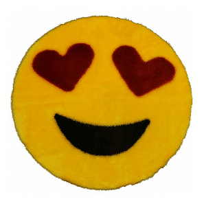 Heart Eyes Emoji Rug Mat Circular