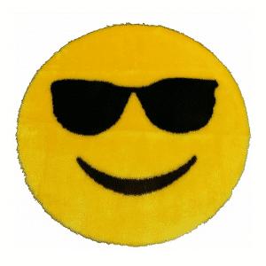 Sunglasses Smiley Emoji Rug Mat Circular