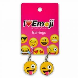 Wink Tongue Out Emoji Earrings