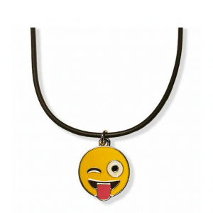 Wink Tongue Out Emoji Necklace
