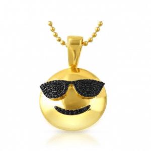 Sunglasses Smile Emoji Gold Pendant Chain