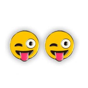 Winking Tongue Out Emoji Earrings